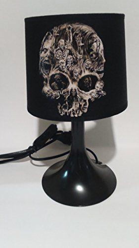 lampe de chevet ou à poser tete de mort walking dead noir | clo