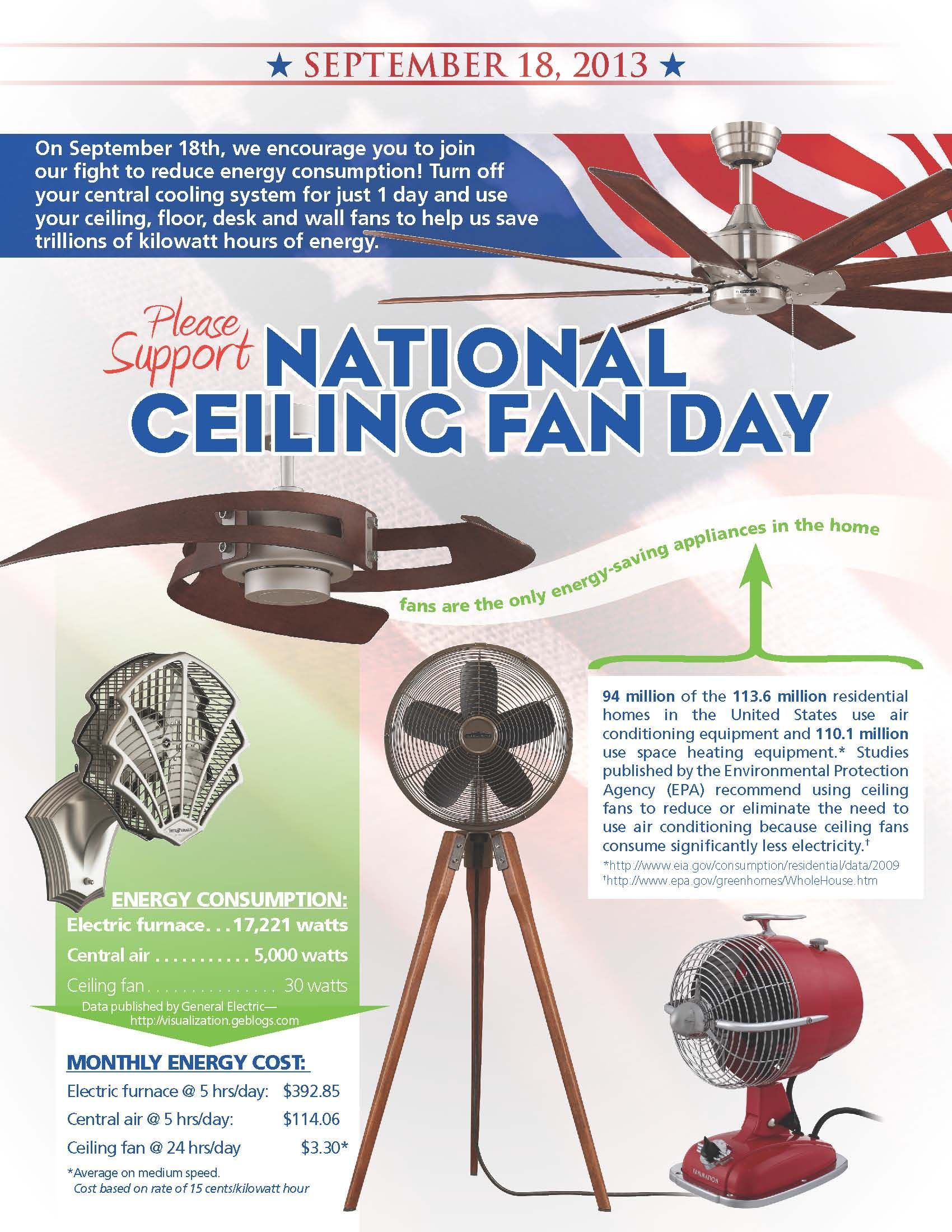 National ceiling fan day energy efficient pinterest ceiling today is national ceiling fan day save energy and money turn off your ac and turn on your ceiling fan aloadofball Image collections
