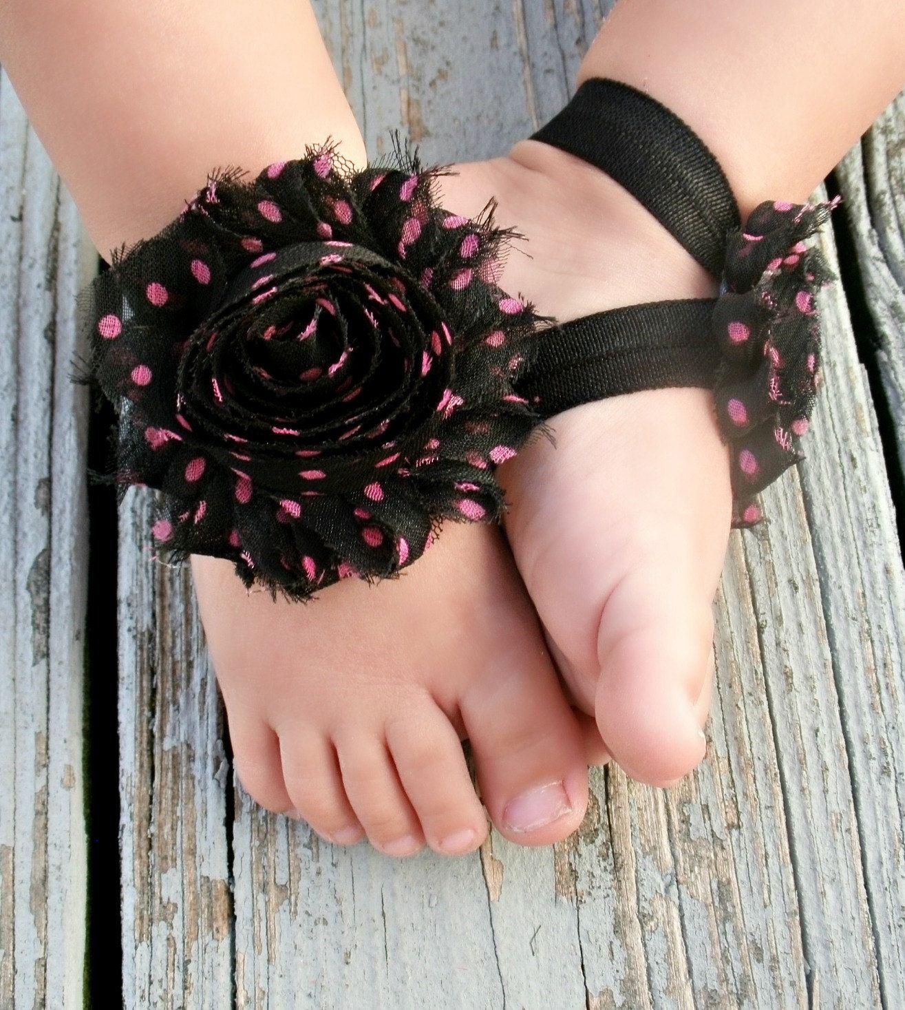 Black newborn sandals - Black With Pink Polka Dots Toddler Sandals Newborn Sandals Baby Flower Sandals