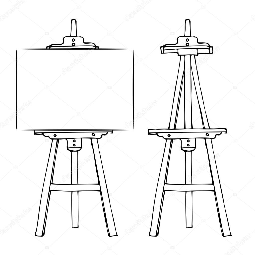 Download Wooden Easel And Canvas Stock Illustration Art Easel Wooden Easel Easel