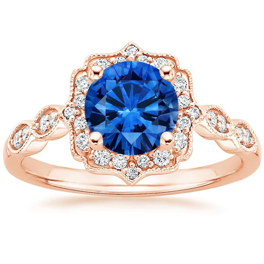 14K Rose Gold Sapphire Cadenza Halo Diamond Ring from Brilliant Earth