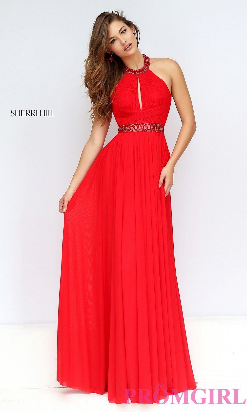 Image Of Floor Length High Neck Halter Dress Detail Image 1 Long