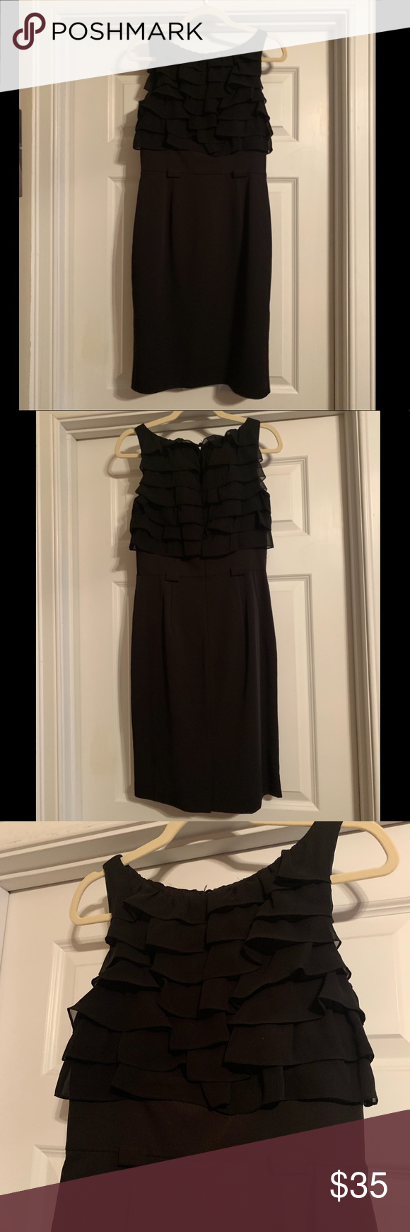 Calvin Klein Black Dress With Ruffle Detail Us 4 Calvin Klein Black Dress Black Knee Length Dress Calvin Klein Black [ 1740 x 580 Pixel ]