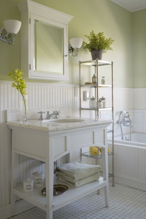 Image Of Breathtaking Ideas For Cottage Bathroom Walls Using White Beadboard Paneling On Olive Green In Light Green Bathrooms Beadboard Bathroom Green Bathroom
