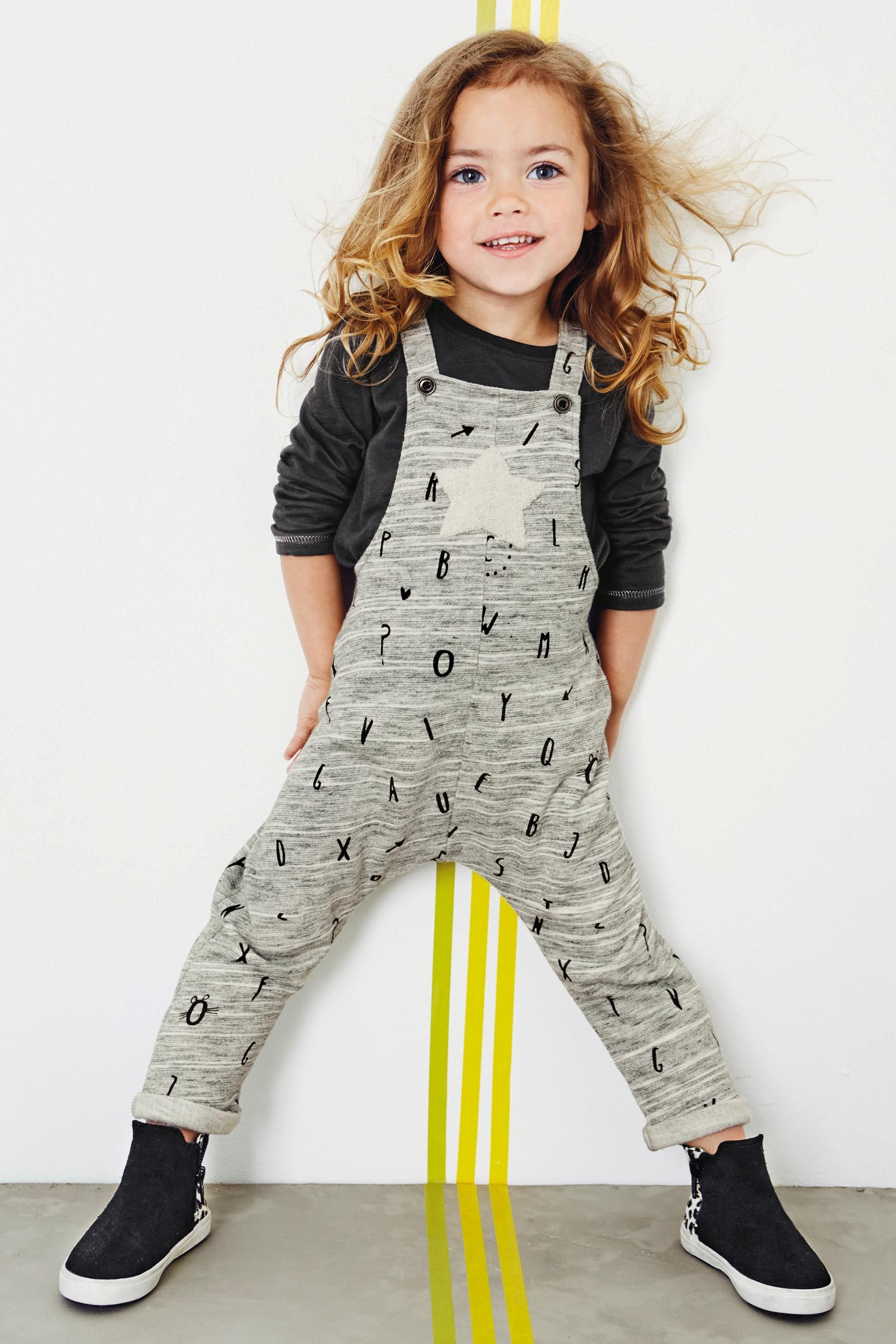 Buy Grey Letter Dungaree Set (3mths-6yrs) online today at Next ...