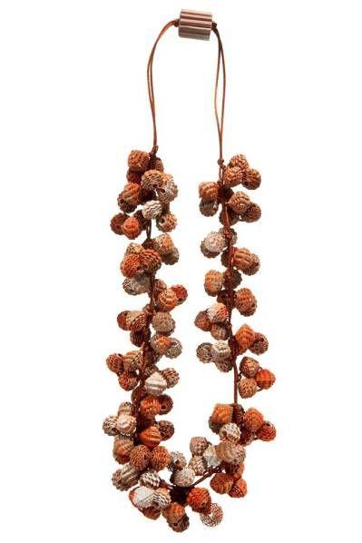 """Collana """"Corallo"""", cartoncino ondulato, filo di seta, Angela Simone"""