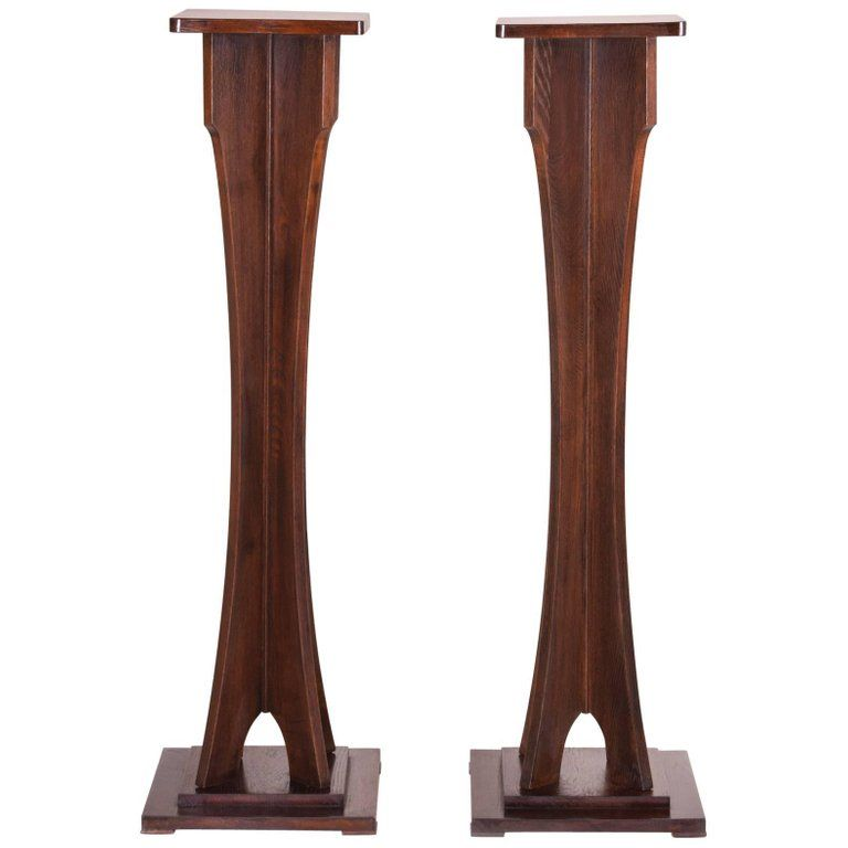 Non-traditional Art Deco Pedestal From Austria, Wien, Oak