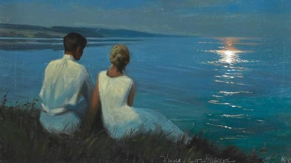 Image result for lovers in moonlight painting