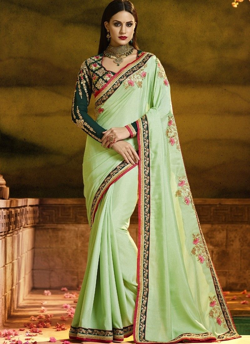 e42e42fe16 Shaded Green Silk Designer saree 618709 | concept | Green saree ...