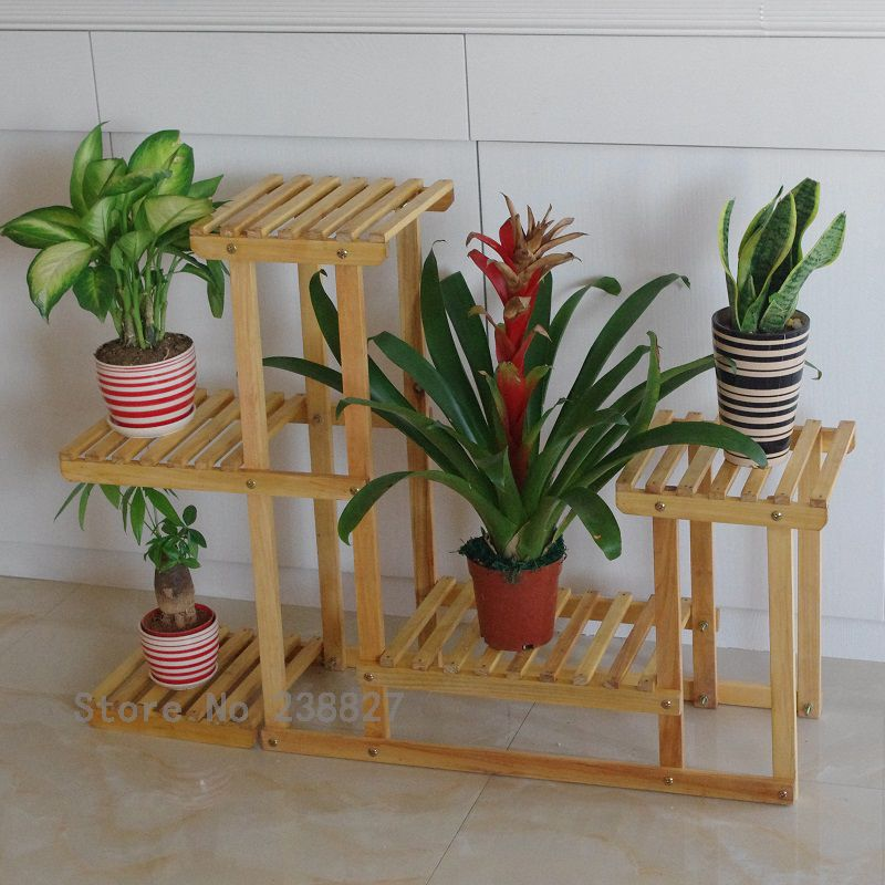 Pot Stand Designs : Wood tier flower pot racks home garden decor etagere