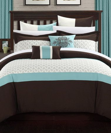 Loving This Brown Teal Lucca Embroidered Bed In A Bag Comforter