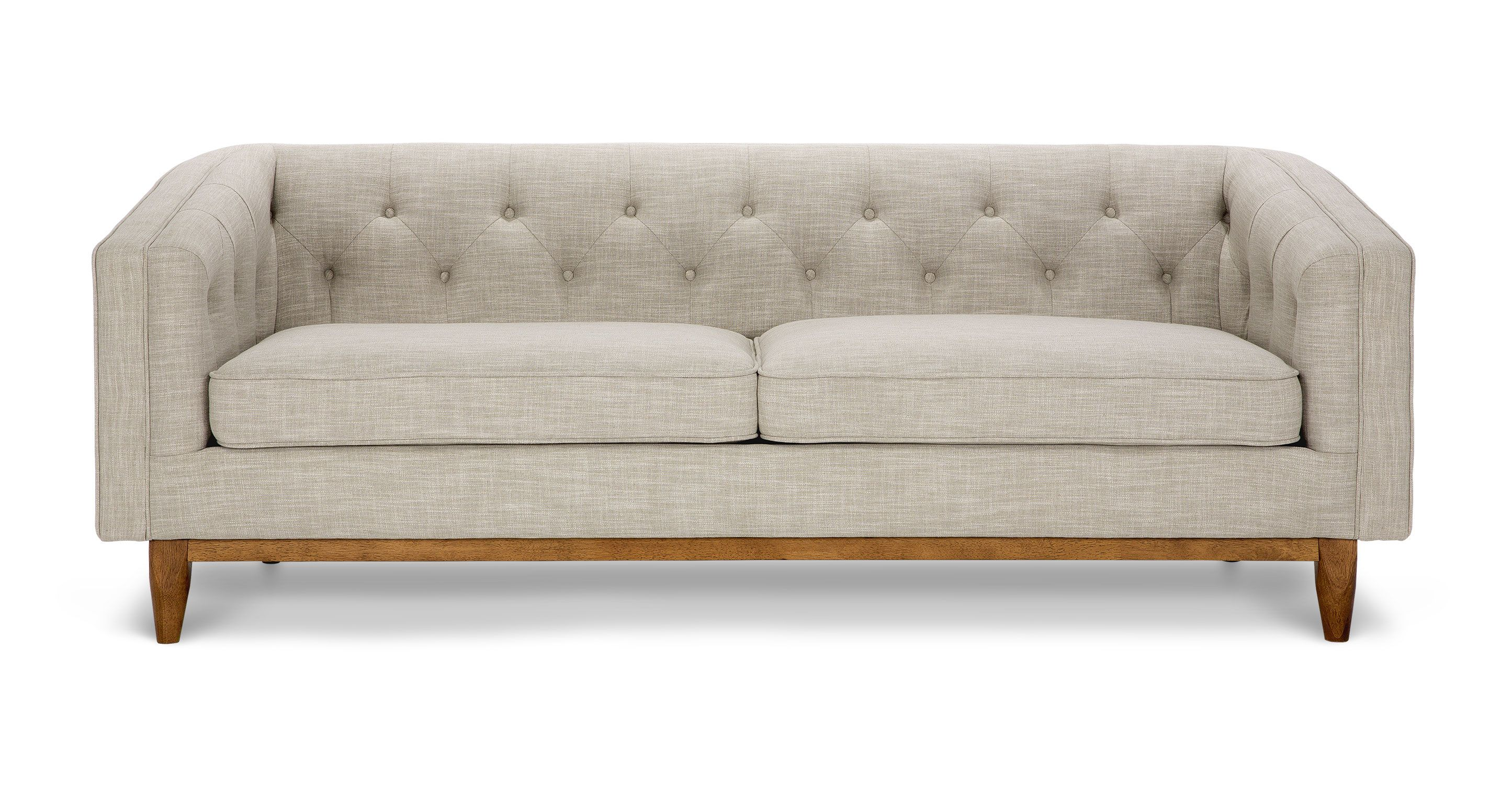 Gray Tufted Sofa 3 Seat Wooden Base