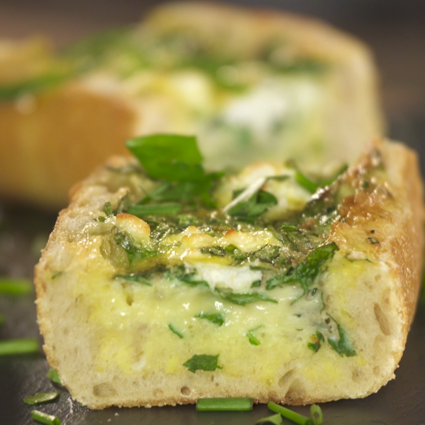 Herb and Goat Cheese Baked Egg Boats
