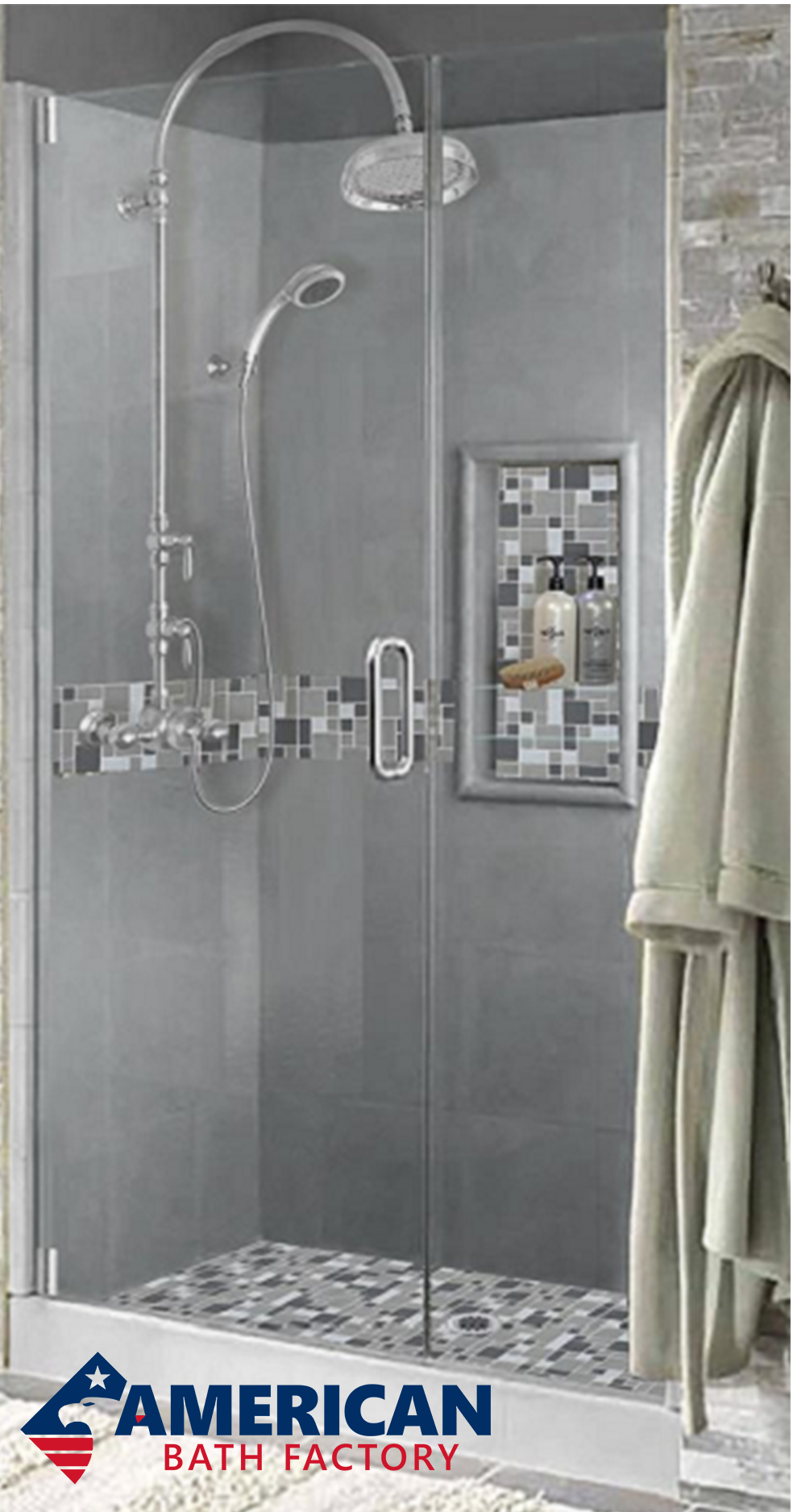 Cement and Glass Mosaic Shower Kit from $1,267 - Easy to Install ...