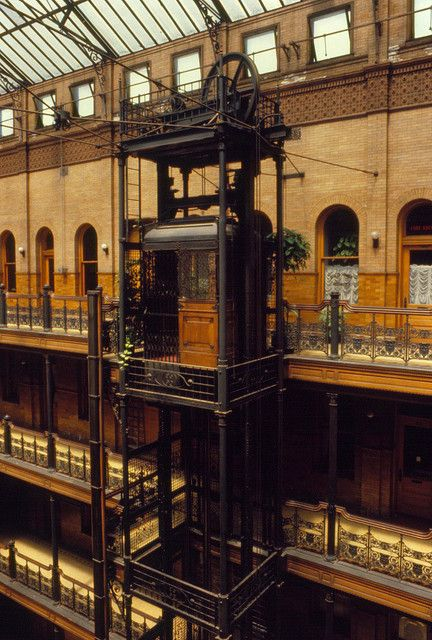 Elevator bradbury building los angeles 1979 architecture of the earth and the living for Modern interior doors los angeles