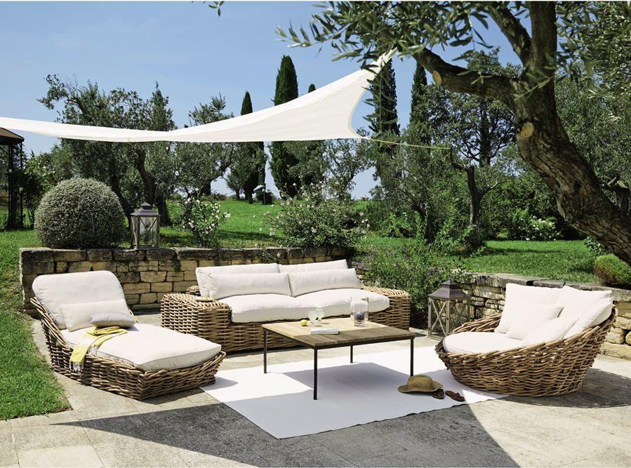 Canapé 3/4 places St Tropez en rotin et tissu ivoire prix Canapé de Jardin Maisons du Monde 1 299.00 €