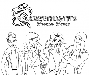 disney descendants coloring pages Descendants Wicked World Coloring Pages Coloring Page | Free  disney descendants coloring pages
