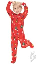 Christmas Footie Pajamas For Kids.Holly Jolly Christmas Kids Fleece Onesie Christmas