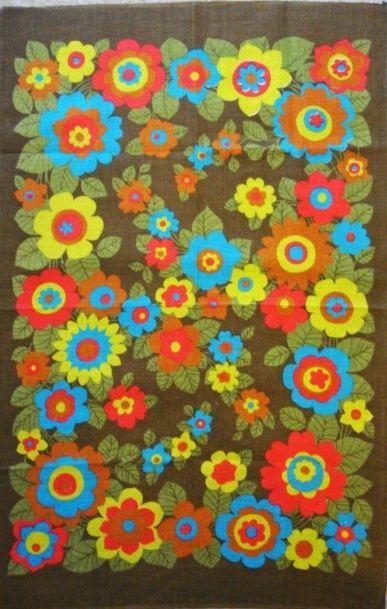 Vintage Flower Power Tea Towel Dish Towel Retro Floral By Retro68