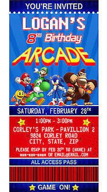 Arcade Themed Birthday Party Invitations Google Search Greyson