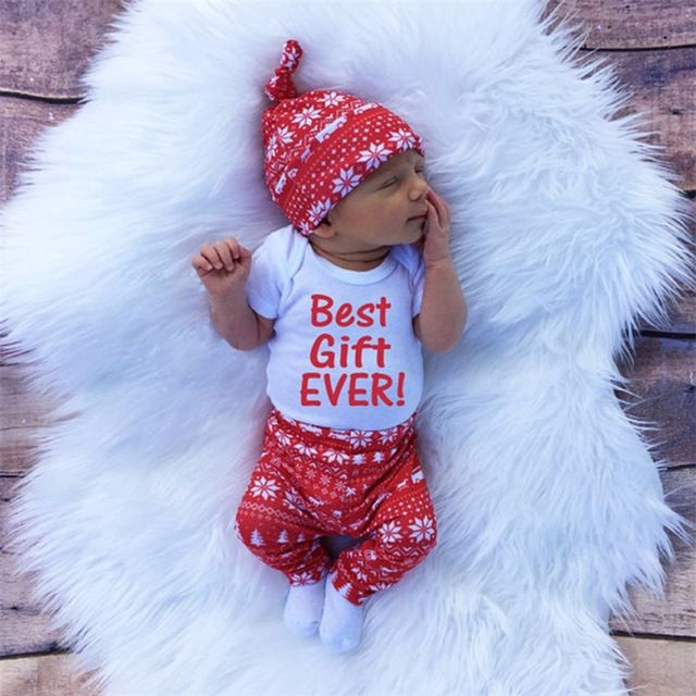 ab2e8ea07851 Christmas Best Gift Ever Baby Romper Clothes Sets Long Sleeve Tops ...