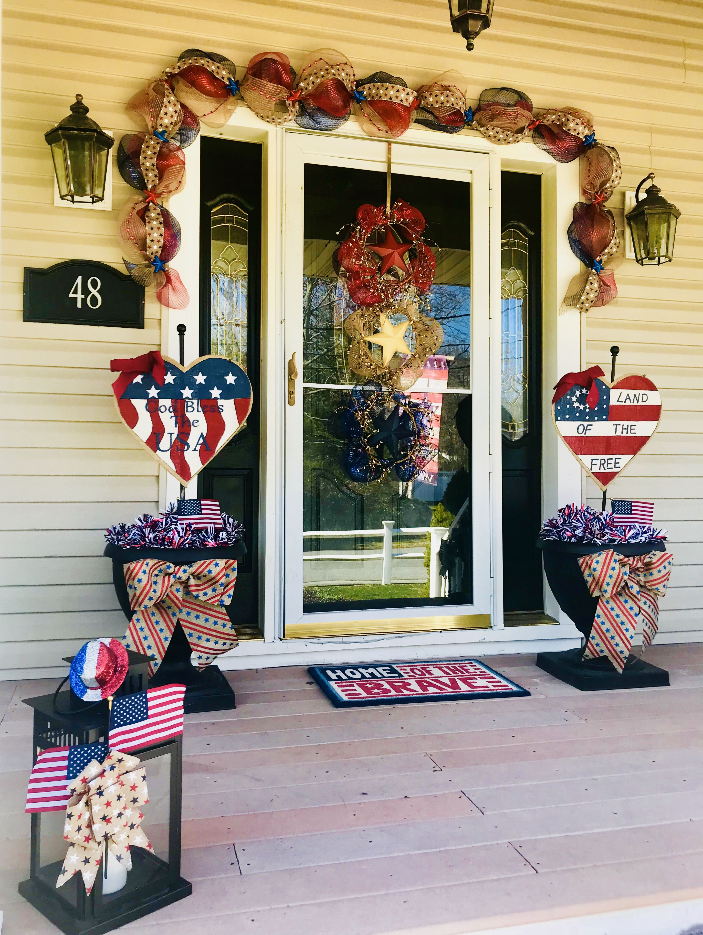 Memorial Day And Fourth Of July Front Porch Decorations 4th Of July Decorations Front Porch Decorating Memorial Day Decorations