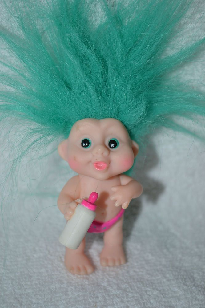 GREEN HAIRED BABY TROLL DOLL WITH BABY BOTTLE MOVABLE JOINTS VINYL APPLAUSE 1991