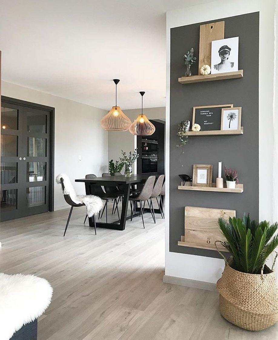 Dark Grey Accent Wall With Decor Shelves Modern Monochromatic