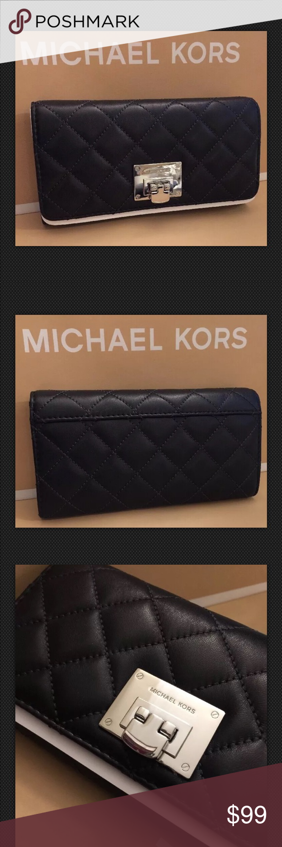 4fd25bc0b3f958 Michael Kors ASTRID Quilted Lthr Wallet-Black-NWT 100% AUTHENTIC! NEW WITH