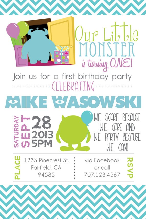 Printable Monsters Inspired 1st Birthday Invitation DIY