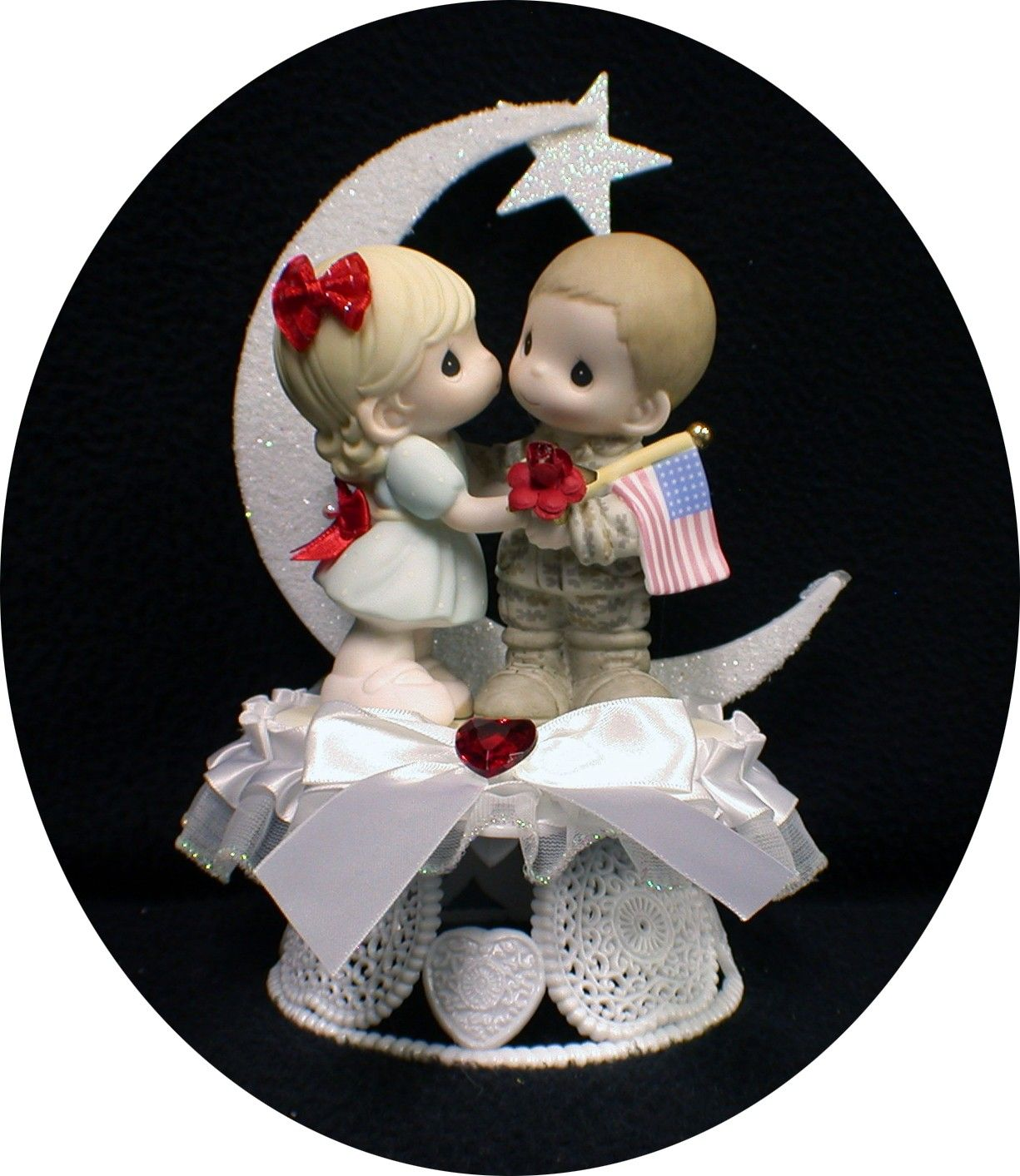 Army Navy Marine Wedding Cake Topper PRECIOUS MOMENT  Hero. $89.50, via Etsy.
