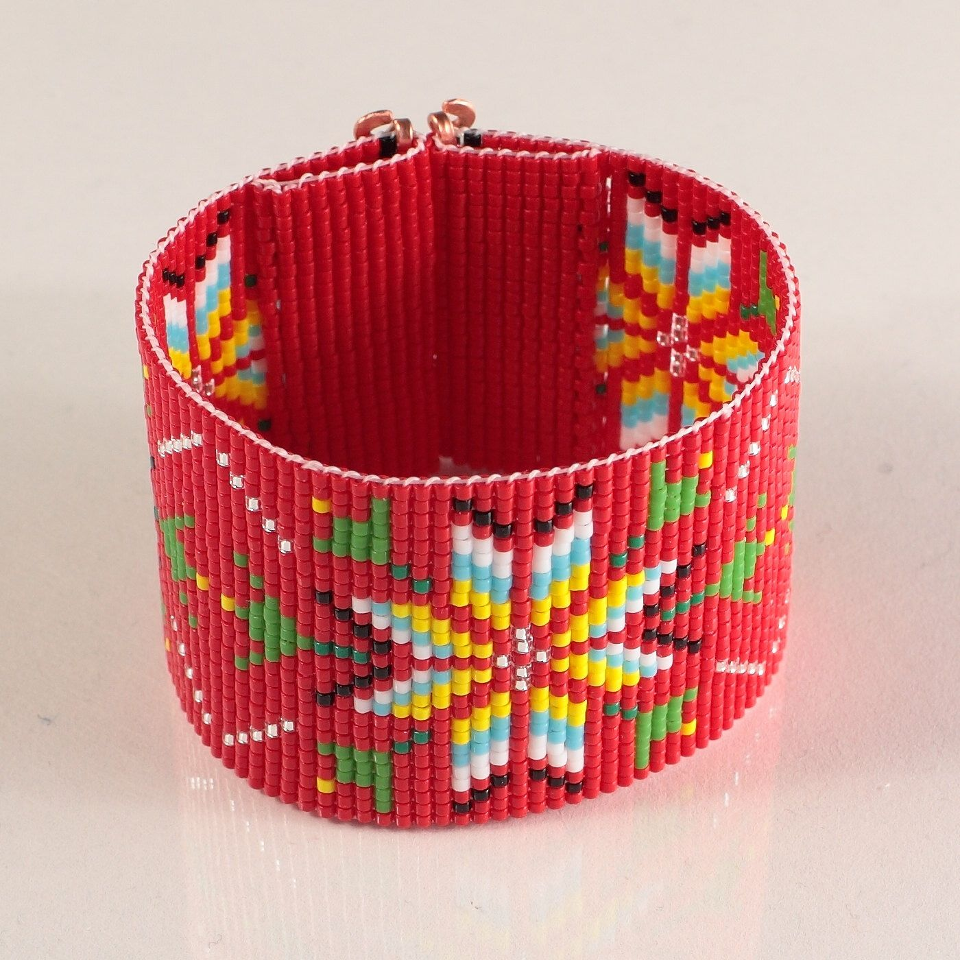 Red Native American Style Wide Cuff Bead Loom Bracelet - Artisanal Jewelry - Southwestern - American Indian Motif Jewelry -Western -Beaded by PuebloAndCo on Etsy https://www.etsy.com/listing/211791037/red-native-american-style-wide-cuff-bead