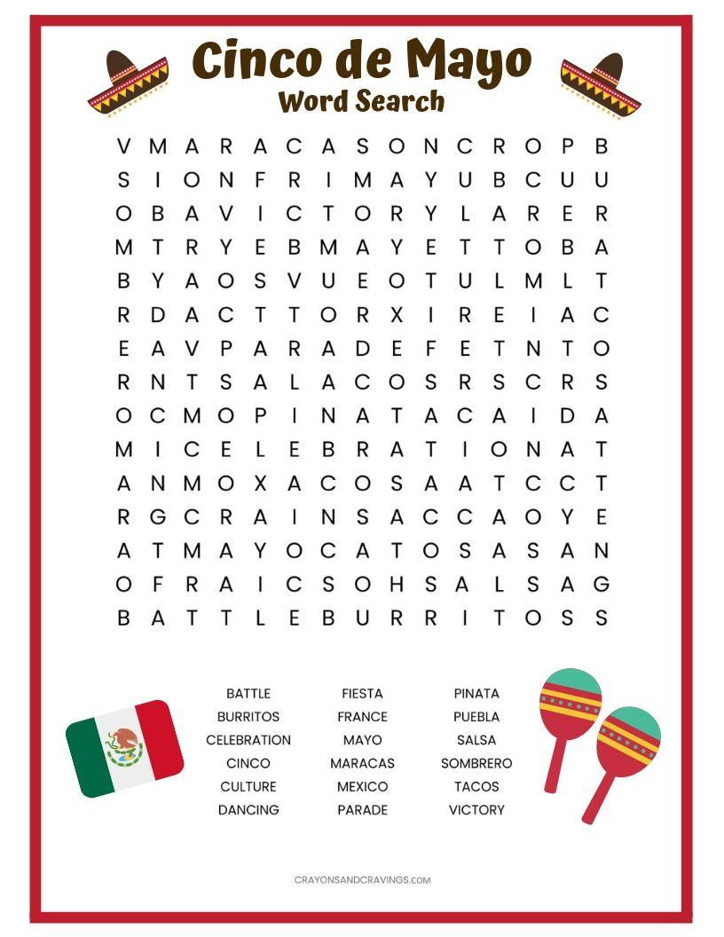 Cinco De Mayo Word Search Free Printable Cinco De Mayo Cinco De Mayo Activities Kindergarten Worksheets [ 1056 x 816 Pixel ]