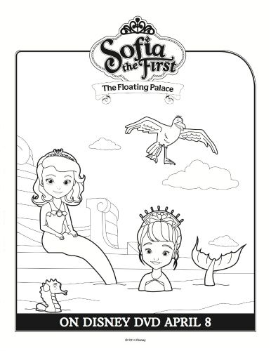 Sofia the First Floating Palace Mermaid Coloring Sheet Printable