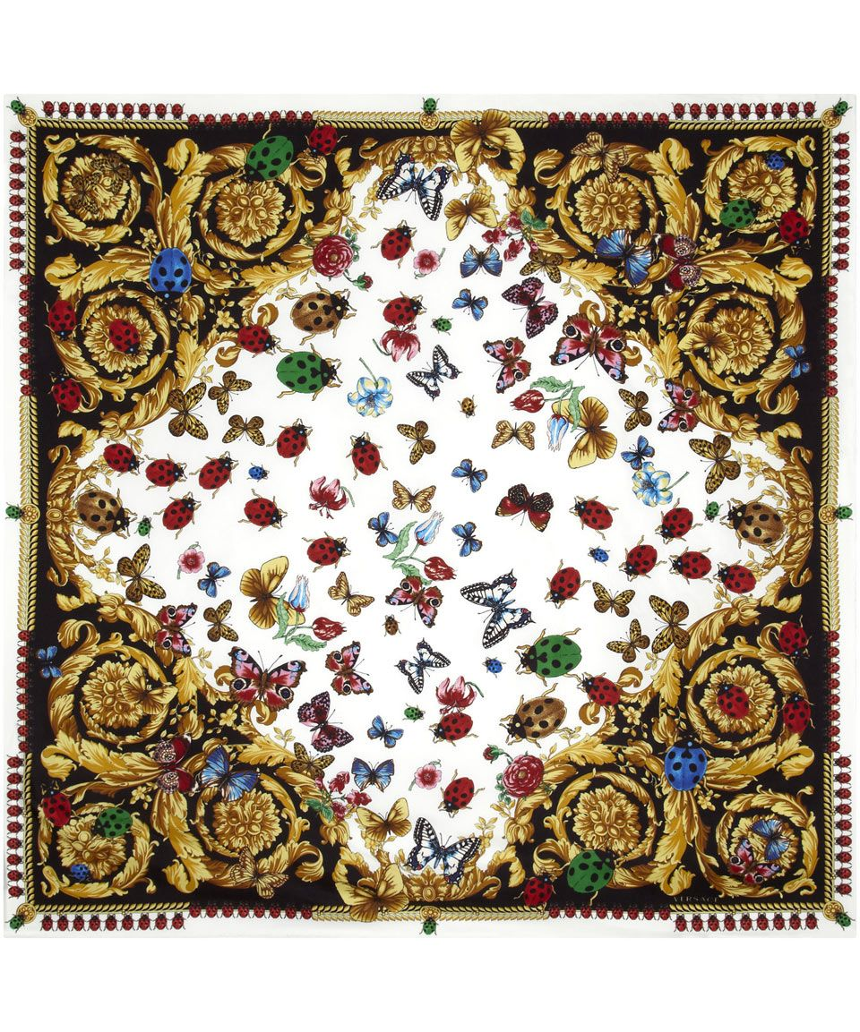 Black And White Ladybird Print Silk Scarf Versace The Latest Scarves From Collection Online At Liberty Co Uk
