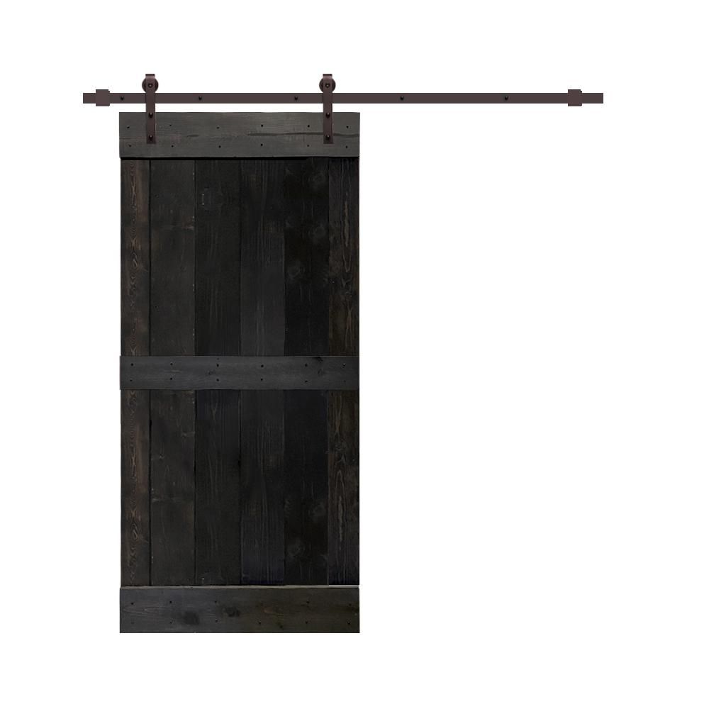 Calhome 24 In X 84 In Charcoal Black Stained Solid Pine Wood Interior Sliding Barn Door With Hardware Kit Swd11 Ab 79 Door Diy 03 24dt In 2020 Interior Sliding Barn Doors Wood Interiors Solid Pine