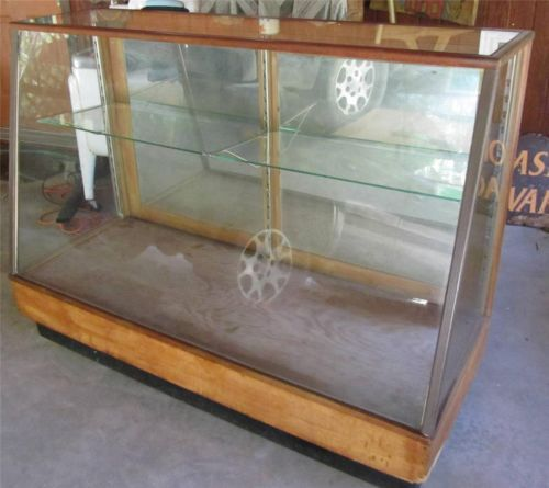 Antique Slant Front Display Case Showcase General Store Glass