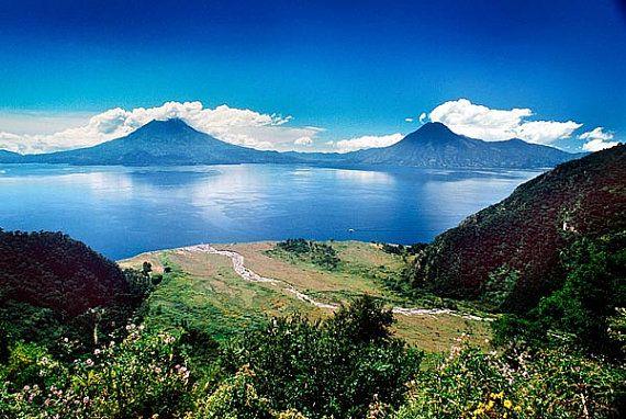 double volcano in guatemala landscape