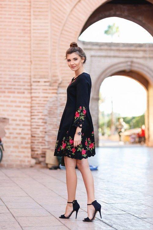 Ideas para bordar un vestido negro
