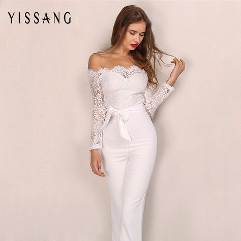 40dc7746f3a5  42.22 - Awesome Yissang Elegant Office Lady Loved Sexy Party Playsuit Good  Lace Off The Shoulder Bodycon Womens Jumpsuit Long Sleeve Rompers - Buy it  Now!