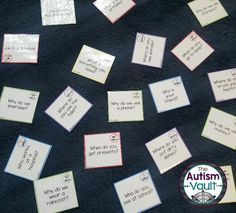 Wh question cards.  Great for practicing intraverbals.  Can use these cards for games, morning meeting, etc.- The Autism Vault