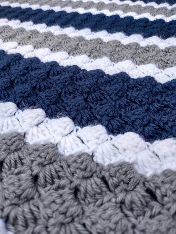 Dallas Cowboys Crochet Blue, Grey and White Blanket - Multiple Sizes ...