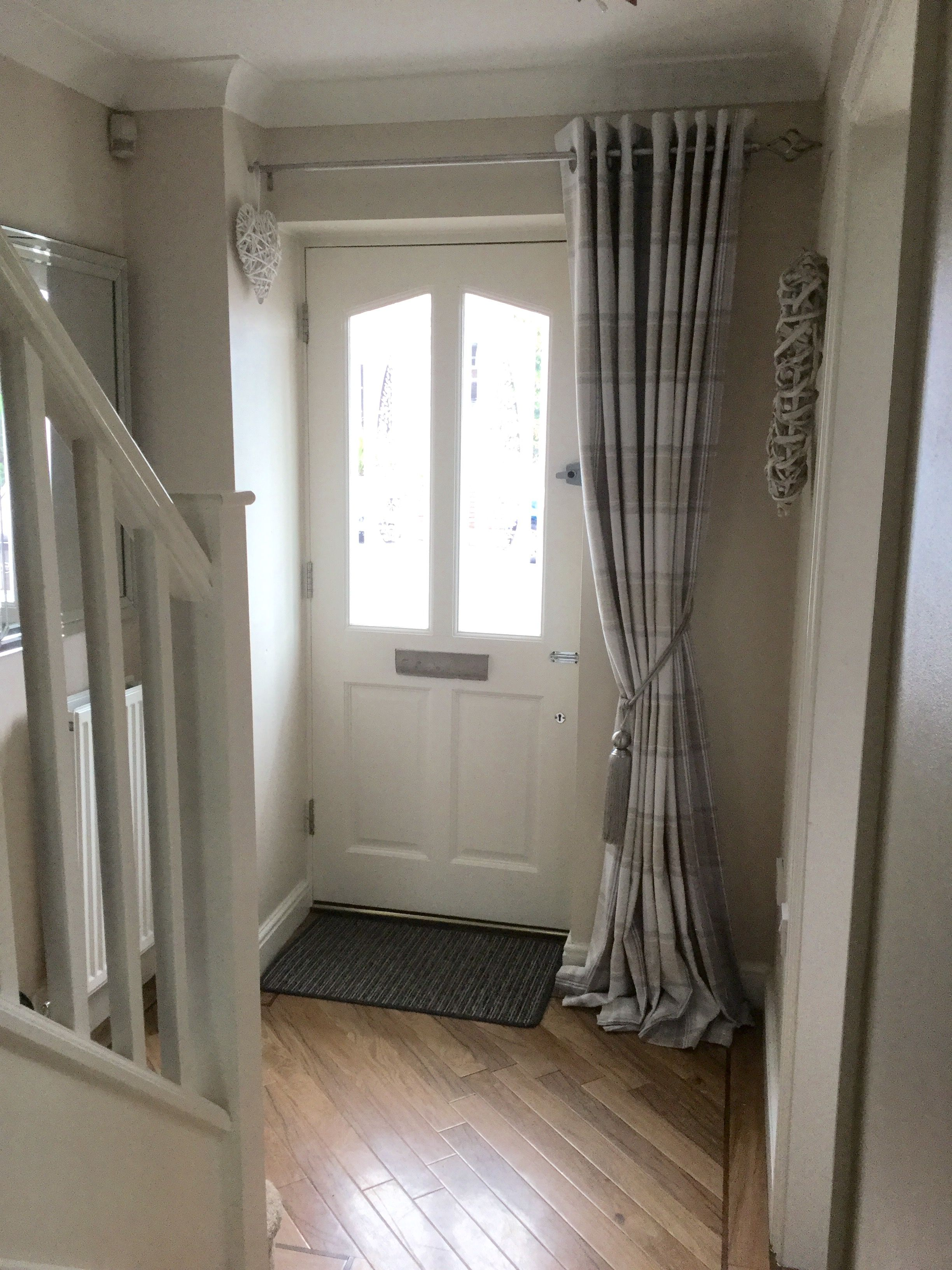 My Hallway Curtain From Dunelm With Grey Tieback White
