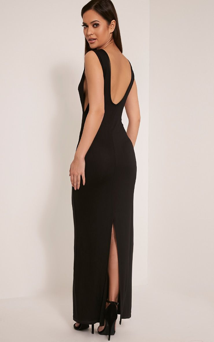 Basic black drop armhole maxi dress image womenus fashion
