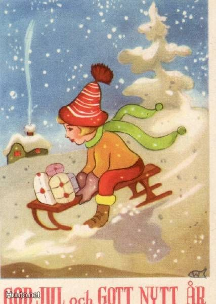 Vintage Nordic Christmas Card by Guni ~ Little Boy Sledding ~ Orange Sweater