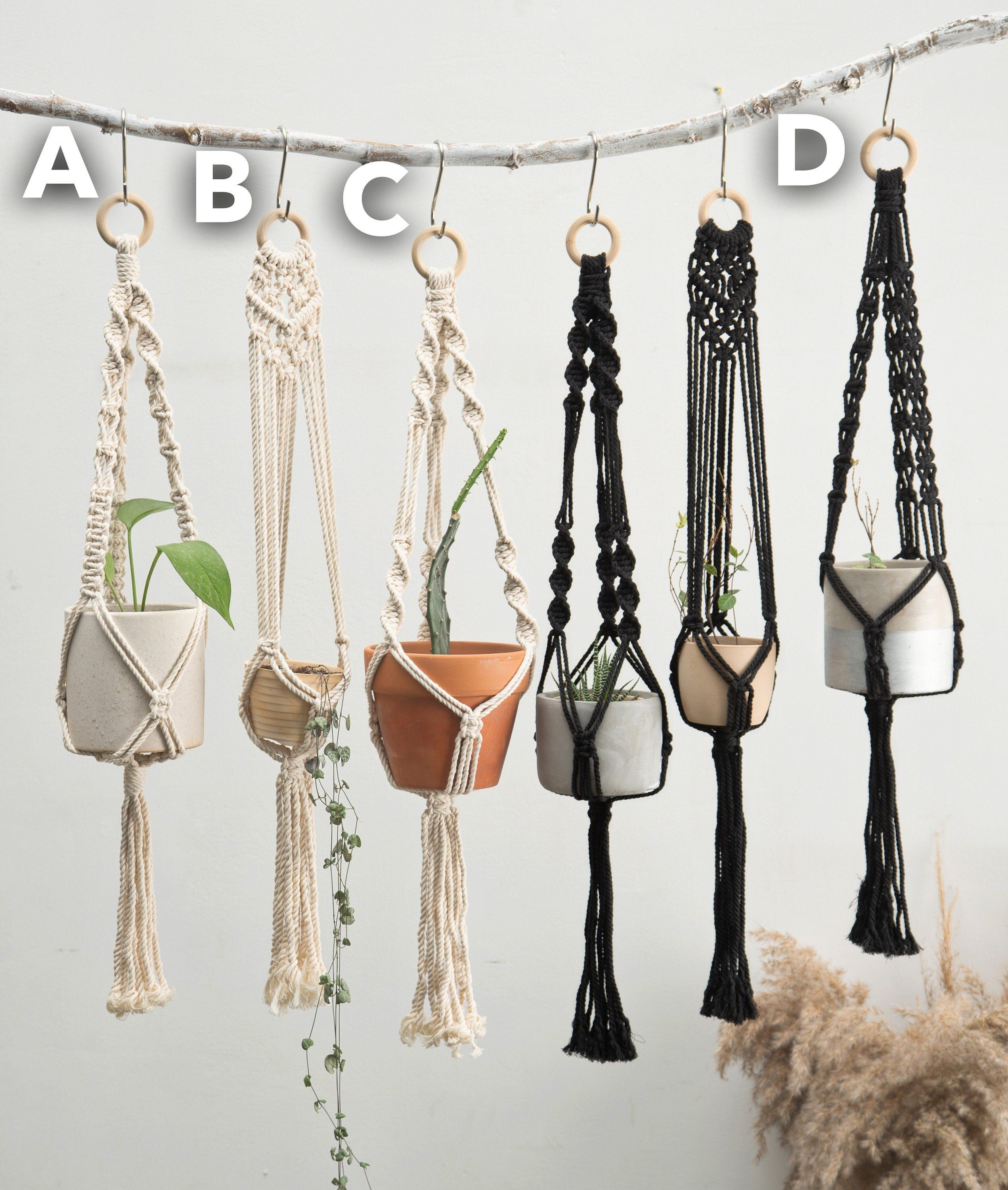 335 black and white macrame plant hangers wall planter