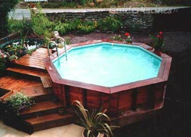 Photos de piscine construction service bretagne - Piscine bois octogonale semi enterree ...