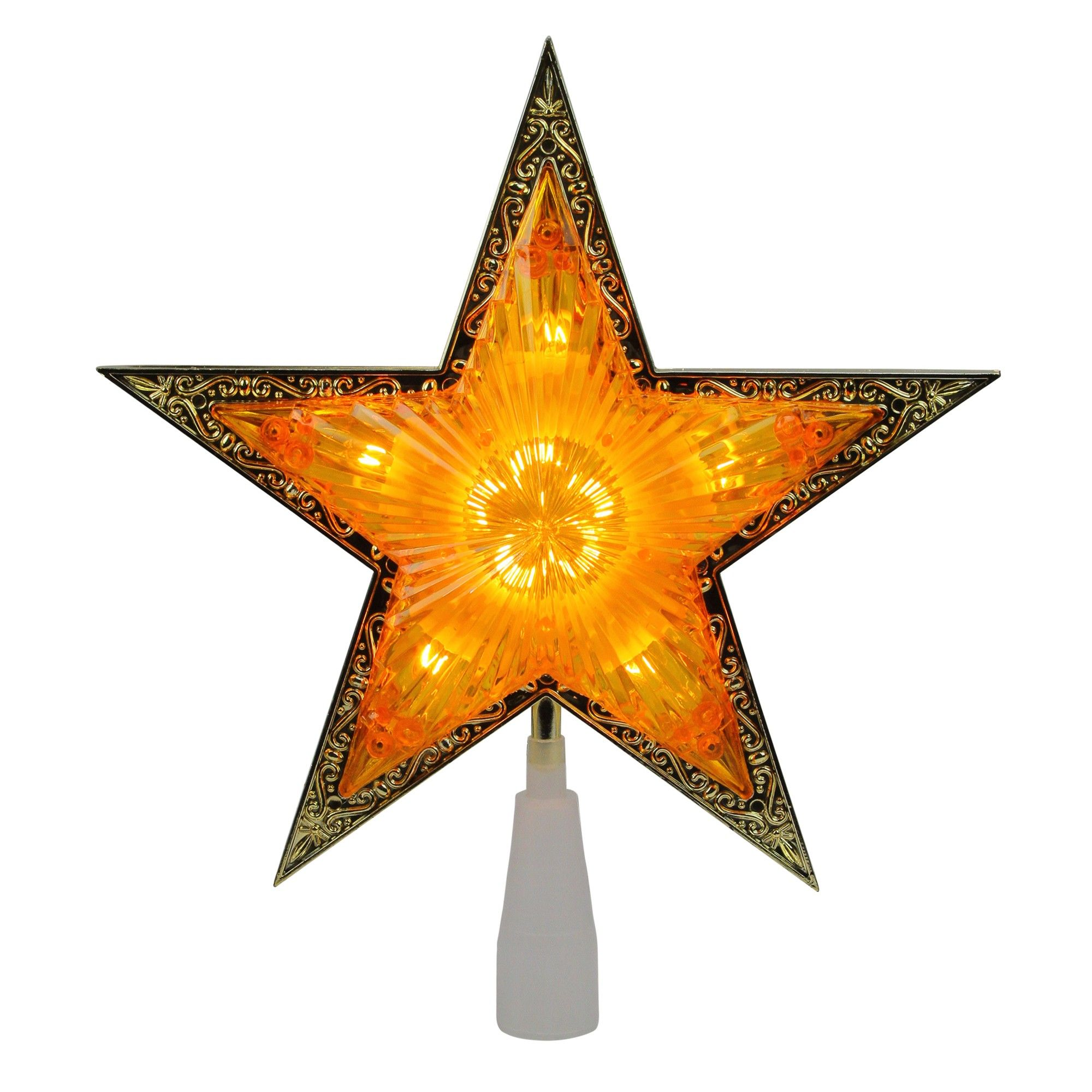 """Northlight 10"""" Lighted Amber and Gold Crystal Star"""
