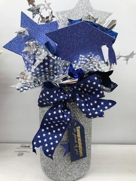 Silver And Blue Jar Centerpiece Idea Blue Graduation Decorations Blue Graduation Party Blue Graduation Centerpieces