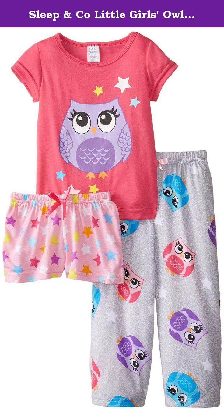 ee26fcae1 Sleep   Co Little Girls  Owl 3 Piece Pajama Set